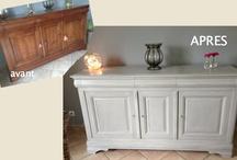 Meuble repeint à la chaux / Enfilade en merisier repeinte avec une peinture à la chaux fabrication maison.