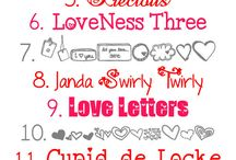 Valentine's Day Fonts, Clipart, and Photoshop / Fonts, clipart, and Photoshop design ideas for Valentine's Day.