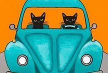 dibujos de gatos, perros