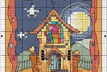 cross stitch house