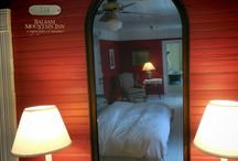 Rooms at the Inn / There were originally 100 rooms at the inn, but during our 1990 restoration we combined some rooms and added private baths throughout, leaving 50 guest rooms total. Each room is different!
