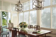 Silhouette Shades by Hunter Douglas / Silhouette® shadings, with the Signature S-Vane™, magically float between two sheers and diffuse harsh sunlight. Simply tilt the vanes to achieve your desired level of light and privacy.