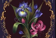 Pintura - Flores / Trabalhos de pintura de flores com técnicas diversas