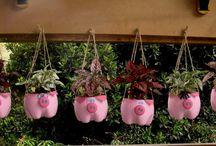 vasinhos de flores de plastico de porquinho de pendurar
