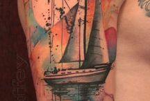 Tattoos with Ship and Boats / Lighthouses