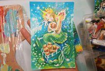 """Watercolor series """"Mermaids"""" by San Diego artist Lana Chromium"""
