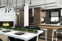 Dom Przygoda- styl nowoczesny / We wnętrzu w stylu nowoczesnym należy zwrócić uwagę na formę. Prostota elementów wyposażenia, zamknięte bryły to coś dla miłośników minimalizmu. Stonowana kolorystyka strefy dziennej została przełamana chłodnym betonem.  Po więcej inspiracji zapraszamy na naszą stronę:http://monostudio.pl/portfolio_item/dom-przygoda-2-styl-nowoczesny/ oraz na Facebooka