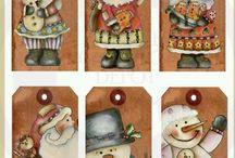 NOEL / Etiquettes, cartes, Broderies