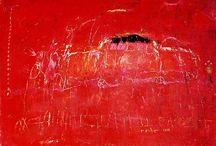 peintures abstraites rouges / Une nouvelle collection de tableaux abstraits rouges, huiles sur toile.