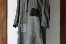 SASAKI-JIRUSHI (Vintage remake) Black chambray patchwork long atelier coat