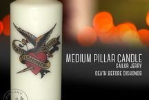 Custom decorative Candles / Hand finished decorative candles featuring images related to tattoo flash and sailor jerry. Occult, witchcraft and spiritual. Dachshund, penguins, vw. More info find Epiphany 1934 on Facebook: http://www.facebook.com/epiphany1934 and Etsy : http://www.etsy.com/uk/shop/Epiphany1934