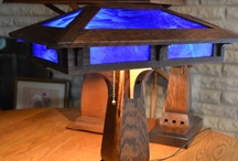 Prairie Craftsman Desk Lamp with Blue Cobalt Slag Glass / Prairie Craftsman Desk Lamp with Blue Cobalt Slag Glass