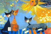 Chats de Rosina Wachtmeister / Rosina Wachtmeister est une peintre autrichienne née le 7 janvier 1939 à Vienne.  Elle est particulièrement connue pour ses tableaux représentant des chats à tête de croissant de lune. Nous pouvons voir que sur le visage des chats il y a deux faces, une face colorée et l'autre humaine. Ses tableaux sont un mélange de couleurs froides et chaudes. (wikipedia)