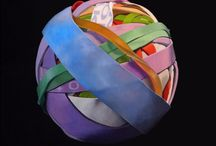 Elasticity paintings by Joanna Strong / Oil paintings of rubber band ball worlds...