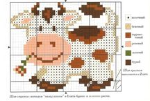 Cross Stitch-Cows and Pigs.