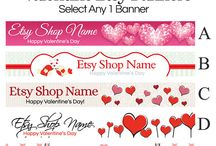 Etsy Banners For Valentine's Day / Creative Etsy banner designs to help Etsy sellers decorate their shop for Valentine's Day.