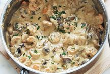 Crevettes à la crème,fromage et champignons