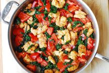 Shrimp, tomato and spinach pasta in garlic butter sauce