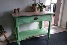 Grønt bord / Annie sloan antibes green og old White
