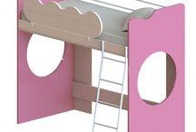 Κρεβάτι Κουκέτα Joy Oak Natural-Pink 207X101X179 cm