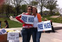 """Inaugural DC Hug Mob April 19th 2014 / A Flash Mob of """"Free Hugs""""  ~    """"To give pleasure to a single heart by a single act is better than a thousand heads bowing in prayer."""" ~ Mahatma Gandhi  http://www.thehooraydaily.com/dc-hug-mob.html"""