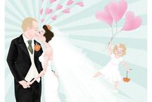 Wedding Illustrations / Hannah Weeks does stylised wedding portraits. These make fantastic commemorative pieces for couples to remember their big day by, and also are a really unique gift to give to the bridal party as a 'thank you' on their wedding day.