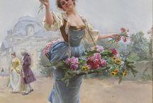 Κοριτσάκια που μοιράζουν λουλούδια