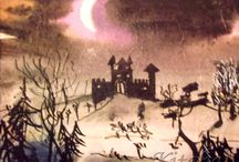 I'm going to tell you a tale / Here you can see some paintings of a christmas tale I wrote and painted last year. It is not the whole story but a prief preview of a tale that plays in a snowy landscape, about a little witch in a castle... This secuence is painted with indian ink.