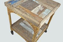 Driftwood tables and cabinets made by Nautilus Design