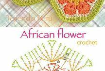 Szydełko  - african flowers