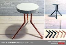 concrete stool and table