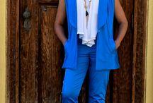 Lady Wears the Blues! / Simplicity 8054, Butterick 6066 and top Draped Nina Ramel Pattern.