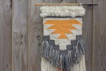 Weaving Project - Inspiration / A selection of woven wall hangings displaying a range of different techniques as inspiration for my weaving project