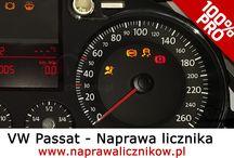 Naprawa licznika VW Passat / Kompleksowe naprawy liczników VW Passat. Naprawiamy uszkodzone wyświetlacze, przerywaną pracę licznika, brak podświetlenia tarcz oraz zakłamania wskaźników.