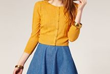 70's hat, mustard cardigan, denim skirt, love