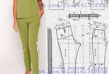 patrones conjunto pantalon verde