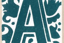Linocut alphabet
