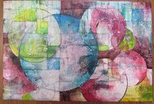 Art Quilt - Stitched Paintings / reconstructed acrylic paintings that are then used as the base for another painting.