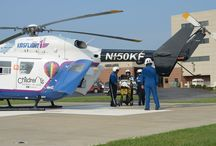 KidsFlight / St. Louis Children's Hospital, a sister hospital to Parkland Health Center through BJC HealthCare, houses a four-member transport team, a KidsFlight helicopter and a mobile pediatric intensive care unit (MICU) at Parkland Health Center in Farmington. The team includes a pediatric-certified paramedic and two registered nurses with extensive training in newborn and pediatric intensive care and pediatric trauma.  / by BJC HealthCare