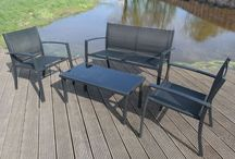 Black Set Outdoor Bench Chairs Glass Table Furnitoure Garden 4 Piece Patio Park