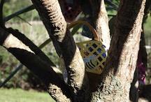 Easter egg baskets in tree