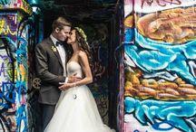 Wedding photos featuring street art
