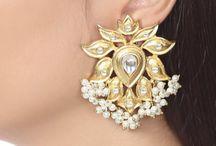 Kundan Gold Dangler Earrings with Pearl Drop