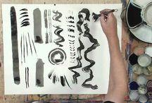 Sumi brush painting