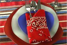 Folded serviettes