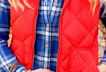 Red Puffy Vest Outfits