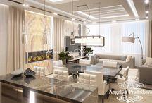 Интерьер квартиры на Мосфильмовской в стиле Модерн / Дизайн спроектирован для квартиры на Мосфильмовской. Стиль модерн делает любое помещение в квартире не только уютным, но и изысканным и комфортным. Все комнаты апартаментов выдерживается в едином стиле.  В проекте - интерьера много светлых тонов, они визуально увеличивают пространство и успокаивающе влияют на жильцов.