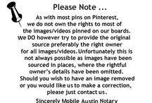 Our Disclaimer Notice / As with most pins on Pinterest, we do not have the rights to most of the images/videos pinned on our boards. We do however try to provide the original source hopefully to the right owners for all images/videos. Should you wish to have an image or video removed, or you would like me to make a correction please just contact us.  - Thanks Mobile Austin Notary