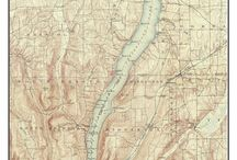 """New York Finger Lakes Old Maps NY / These are old composite maps of New York Finger Lakes custom made out of one or more USGS """"quads"""".   We add a border and a title to make the maps more attractive.  These are available from our website in different sizes and prices.  We emphasize common frame sizes but they can be customized as the buyer desires--e-mail us if you don't see what you want!"""