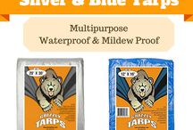 Waterproof Tarps / Waterproof, multipurpose silver and blue tarps for camping, cars and home